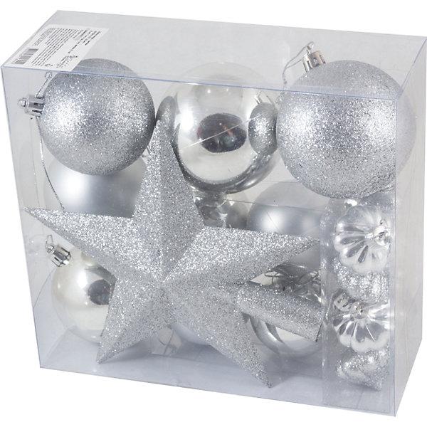 Новогодний набор Magic Land, шары + звезда, 18 штЁлочные игрушки<br>Характеристики:<br><br>• возраст: от 3 лет;<br>• материал: пластик; <br>• размеры шаров: 8 см, 7 см, 6 см, 4 см;<br>• высота звезды: 25 см;<br>• тип упаковки: ПВХ бокс;<br>• количество игрушек в наборе: 18 шт;<br>•страна производитель: Китай.<br><br>Набор новогодних игрушек «Magic Land» выполнен из пластика, поэтому украшения прослужат долго. Благодаря своему материалу игрушки не только не бьются, но очень легкие. <br><br>Участвовать в предпраздничной подготовке с участием пластиковых украшений из указанного набора может любой ребенок возрастом от трех лет. Набор абсолютно безопасен для них. В комплекте 18 игрушек одной цветовой гаммы. <br><br>Набор Шары + звезда можно купить в нашем интернет-магазине.<br>Ширина мм: 225; Глубина мм: 206; Высота мм: 88; Вес г: 274; Возраст от месяцев: 36; Возраст до месяцев: 2147483647; Пол: Унисекс; Возраст: Детский; SKU: 7199853;