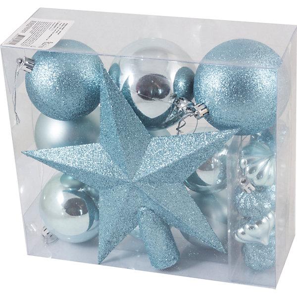 Новогодний набор Magic Land, шары + звезда, 18 штНовинки Новый Год<br>Характеристики:<br><br>• возраст: от 3 лет;<br>• материал: пластик; <br>• размеры шаров: 8 см, 7 см, 6 см, 4 см;<br>• высота звезды: 25 см;<br>• тип упаковки: ПВХ бокс;<br>• количество игрушек в наборе: 18 шт;<br>•страна производитель: Китай.<br><br>Набор новогодних игрушек «Magic Land» выполнен из пластика, поэтому украшения прослужат долго. Благодаря своему материалу игрушки не только не бьются, но очень легкие. <br><br>Участвовать в предпраздничной подготовке с участием пластиковых украшений из указанного набора может любой ребенок возрастом от трех лет. Набор абсолютно безопасен для них. В комплекте 18 игрушек одной цветовой гаммы. <br><br>Набор Шары + звезда можно купить в нашем интернет-магазине.<br><br>Ширина мм: 208<br>Глубина мм: 228<br>Высота мм: 90<br>Вес г: 274<br>Возраст от месяцев: 36<br>Возраст до месяцев: 2147483647<br>Пол: Унисекс<br>Возраст: Детский<br>SKU: 7199854