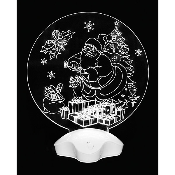 Новогодний светильник Magic Land Дедушка Мороз и подаркиНовинки Новый Год<br>Характеристики:<br><br>• возраст: от 3 лет;<br>• 3D<br>• мигающий белый свет (светодиодная лента 2 светодиода) <br>• работа от батарейки СR2032 (2 шт в комплекте) <br>• переключатель ВКЛ/ВЫКЛ в основании базы <br>• перед включением необходимо удалить защитный ярлычок из отсека для батареек <br>• состав: акрил, пластик, металл <br>• размер базы 4,5х4,5х3,3 см <br>• размер акрилового полотна 9х0,5х9см<br>• упаковка: блистер<br><br>Новогодняя световая композиция дополнит новогодний интерьер и подарит тепло и уют во время праздника. <br><br>Светильник акриловый Дедушка мороз и подарки можно купить в нашем интернет-магазине.<br><br>Ширина мм: 192<br>Глубина мм: 47<br>Высота мм: 212<br>Вес г: 3<br>Возраст от месяцев: 36<br>Возраст до месяцев: 2147483647<br>Пол: Унисекс<br>Возраст: Детский<br>SKU: 7199862