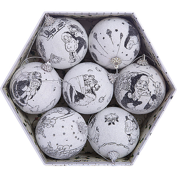 Набор елочных шаров Winter Wings Новогодние комиксы, 7 штЁлочные игрушки<br>Характеристики товара:<br><br>• возраст: от 3 лет;<br>• упаковка: подарочная коробка;<br>• вес: 415 гр.;<br>• количество: 7 шт.;<br>• цвет: белый;<br>• диаметр: 7,5 см.;<br>• форма: шар;<br>• материал: картон;<br>• бренд, страна бренда: Winter Wings (Винтер Вингс), Канада;<br>• страна-производитель: Китай.<br><br>Набор шаров-фрости «НОВОГОДНИЕ КОМИКСЫ» от торговой марки Winter Wings состоит из 7 декоративных подвесных украшений с тематическим узором, выполненных из картона в виде шаров. Изделия оформлены новогодними изображениями и покрыты декоративной прозрачной крошкой. С помощью специальной петельки их можно повесить  на праздничную новогоднюю елку.<br><br>Набор упакован в подарочную упаковку, благодаря чему он отлично подойдет в качестве хорошего новогоднего сувенира родным и близким.<br><br>Елочная игрушка - символ Нового года и Рождества. Она несет в себе волшебство и красоту праздника. Создайте в своем доме атмосферу веселья и радости, украшая новогоднюю елку нарядными игрушками, которые будут из года в год накапливать теплоту воспоминаний. <br><br>Компания  Winter Wings  - настоящий эксперт в оригинальных качественных новогодних украшениях, один из самых широких новогодних ассортиментов на российском рынке.<br><br>Набор шаров-фрости «НОВОГОДНИЕ КОМИКСЫ», 7 шт, диаметр 7,5 см., Winter Wings  можно купить в нашем интернет-магазине.<br>Ширина мм: 200; Глубина мм: 300; Высота мм: 80; Вес г: 417; Возраст от месяцев: 36; Возраст до месяцев: 2147483647; Пол: Унисекс; Возраст: Детский; SKU: 7220671;