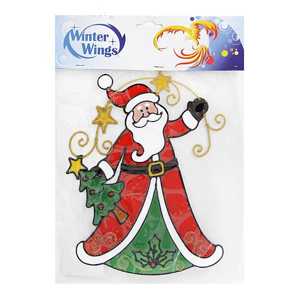 Наклейка панно на окно Winter Wings Санта с елкой 31х28 см, гелеваяНовогодние наклейки на окна<br>Характеристики товара:<br><br>• возраст: от 3 лет;<br>• упаковка: пакет;<br>• количество: 1 шт.;<br>• цвет: зеленый/красный;<br>• размеры: 31х28см.;<br>• форма: фигурная;<br>• состав: ПВХ;<br>• бренд, страна бренда: Winter Wings (Винтер Вингс), Канада;<br>• страна-производитель: Китай.<br><br>Наклейка-панно декоративная на стекло «САНТА С ЕЛКОЙ» от торговой марки Winter Wings - это большая гелевая фигурная наклейка с изображением Деда Мороза, которая станет прекрасным элементом декора на стекло, создав новогоднюю атмосферу в вашем доме, и обязательно порадует ваших родных и близких.<br><br>Наклейка выполненна из качественного материала на гелевой основе и ее можно быстро и легко прикрепить и открепить на стеклянную поверхность.<br><br>Компания  Winter Wings  - настоящий эксперт в оригинальных качественных новогодних украшениях, один из самых широких новогодних ассортиментов на российском рынке.<br><br>Наклейку-панно декоративную на стекло «САНТА С ЕЛКОЙ» , 1 шт, 31х28 см., Winter Wings  можно купить в нашем интернет-магазине.<br><br>Ширина мм: 310<br>Глубина мм: 280<br>Высота мм: 2<br>Вес г: 100<br>Возраст от месяцев: 36<br>Возраст до месяцев: 2147483647<br>Пол: Унисекс<br>Возраст: Детский<br>SKU: 7220684