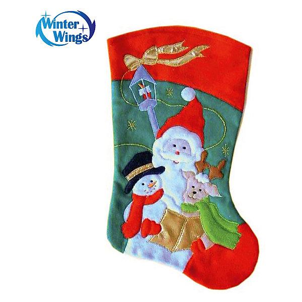 Носок для подарков Winter Wings Дед Мороз, 40 смНовогодние носки<br>Носок новогодний, с дедом морозом, 40 см, в пакете<br><br>Ширина мм: 400<br>Глубина мм: 200<br>Высота мм: 20<br>Вес г: 54<br>Возраст от месяцев: 36<br>Возраст до месяцев: 2147483647<br>Пол: Унисекс<br>Возраст: Детский<br>SKU: 7220690