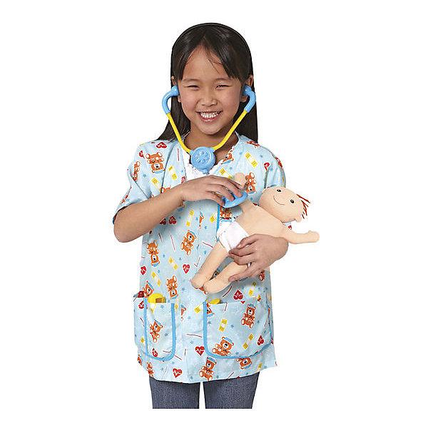 Карнавальный костюм Melissa &amp; Doug Детская медсестраНовинки для праздника<br>Характеристики товара:<br><br>• серия: игровые костюмы;<br>• в наборе: халат, стетоскоп, молоточек, градусник, шприц и мягконабивной пупс;<br>• возраст: 3 - 6 лет, ростом от 104 до 116см;<br>• размер упаковки: 53х43х10 см;<br>• страна производствыа: Китай.<br><br>С помощью этого замечательного костюма дети смогут придумать много интересных сюжетов для игр в доктора. Халатик выполнен из текстиля с узором из медвежат и сердечек. В нагрудный карман можно положить бейдж с именем и должностью медперсонала. <br><br>Melissa &amp; Doug, Костюм Детская медсестра можно купить в нашем интернет-магазине.<br>Ширина мм: 450; Глубина мм: 20; Высота мм: 550; Вес г: 476; Возраст от месяцев: 36; Возраст до месяцев: 72; Пол: Женский; Возраст: Детский; SKU: 7220841;