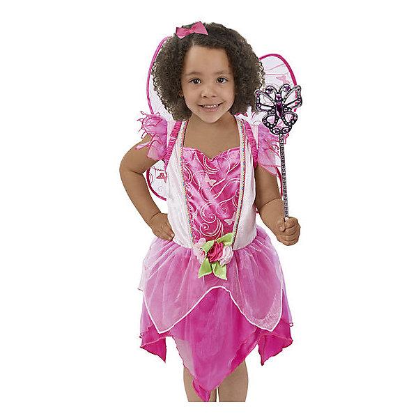 Карнавальный костюм Melissa &amp; Doug Цветочная феяНовинки для праздника<br>Характеристики товара:<br><br>• серия: игровые костюмы;<br>• в наборе: платье, крылья феи, волшебная палочка;<br>• возраст: 3 - 6 лет, ростом от 104 до 116см;<br>• размер упаковки: 53х43х10 см;<br>• страна производствыа: Китай.<br><br>Каждая девочка обрадуется такому костюму. Платье нежно-розового цвета выполнено с пышной 2-х ярусной юбкой, напоминающей по форме цветок. Лиф украшен декоративной отделкой и цветочным принтом, на поясе красуется цветок розы. <br><br>Для завершения образа костюм снабжён воздушными съёмными крыльями и волшебной палочкой, с помощью которой девочка сможет совершать свои сказочные чудеса. <br><br>Melissa &amp; Doug, Костюм Цветочная фея можно купить в нашем интернет-магазине.<br>Ширина мм: 450; Глубина мм: 10; Высота мм: 610; Вес г: 317; Возраст от месяцев: 36; Возраст до месяцев: 72; Пол: Женский; Возраст: Детский; SKU: 7220842;