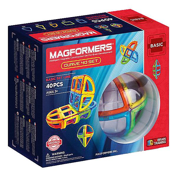 Магнитный конструктор Magformers Curve 40Магнитные конструкторы<br>Характеристики товара:<br><br>• возраст: от 3 лет;<br>• материал: пластик;<br>• в комплекте: 40 элементов (8 квадратов, 8 секторов, 8 арок, 8 сегментов конуса, 8 сегментов сферы), инструкция;<br>• размер упаковки: 24х28,5х10,5 см;<br>• вес упаковки: 1,137 кг;<br>• страна производитель: Корея.<br><br>Магнитный конструктор Magformers Curve 40 позволит детям построить из элементов разнообразные фигурки, дома, башни, машины, животных. Удивительная особенность данного конструктора состоит в том, что детали конструктора надежно и крепко соединяются между собой благодаря магнитам. Магниты внутри деталей уже сделаны таким образом, что позволяют элементам присоединяться и поворачиваться друг к другу нужной стороной.<br><br>В данном наборе представлены объемные, вогнутые, полукруглые элементы. Конструктор развивает у детей пространственное и логическое мышление, мелкую моторику рук, воображение и фантазию. Помимо этого, в процессе игры ребенок знакомится с основными геометрическими фигурами. Элементы выполнены из прочного качественного пластика.<br><br>Магнитный конструктор Magformers Curve 40 можно приобрести в нашем интернет-магазине.<br>Ширина мм: 240; Глубина мм: 285; Высота мм: 105; Вес г: 1137; Возраст от месяцев: 36; Возраст до месяцев: 168; Пол: Унисекс; Возраст: Детский; SKU: 7221163;