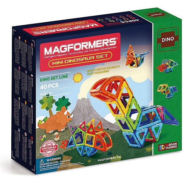 Магнитный конструктор Magformers Mini Dinosaur setМагнитные конструкторы<br>Характеристики товара:<br><br>• возраст: от 3 лет;<br>• материал: пластик;<br>• в комплекте: 40 элементов, инструкция;<br>• размер упаковки: 25х29х9 см;<br>• вес упаковки: 1 кг;<br>• страна производитель: Корея.<br><br>Магнитный конструктор Magformers Mini Dinosaur set позволит детям построить из элементов фигурки динозавров, а  также, проявляя фантазию, домики, башни, машинки. Удивительная особенность данного конструктора состоит в том, что детали конструктора надежно и крепко соединяются между собой благодаря магнитам. Магниты внутри деталей уже сделаны таким образом, что позволяют элементам присоединяться и поворачиваться друг к другу нужной стороной.<br><br>Конструктор развивает у детей пространственное и логическое мышление, мелкую моторику рук, воображение и фантазию. Помимо этого, в процессе игры ребенок знакомится с основными геометрическими фигурами. Элементы выполнены из прочного качественного пластика.<br><br>Магнитный конструктор Magformers Mini Dinosaur set можно приобрести в нашем интернет-магазине.<br>Ширина мм: 250; Глубина мм: 290; Высота мм: 90; Вес г: 1000; Возраст от месяцев: 36; Возраст до месяцев: 168; Пол: Унисекс; Возраст: Детский; SKU: 7221164;