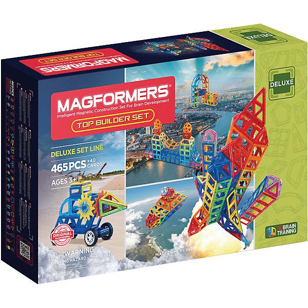 Магнитный конструктор Magformers Top Builder setМагнитные конструкторы<br>Характеристики товара:<br><br>• возраст: от 3 лет;<br>• материал: пластик;<br>• в комплекте: 380 элементов, 85 аксессуаров, 40 карточек, инструкция;<br>• размер упаковки: 85х53х14 см;<br>• вес упаковки: 12 кг;<br>• страна производитель: Корея.<br><br>Магнитный конструктор Magformers Top Builder set позволит детям построить из элементов фигурки, домики, башни, машинки. Удивительная особенность данного конструктора состоит в том, что детали конструктора надежно и крепко соединяются между собой благодаря магнитам. Магниты внутри деталей уже сделаны таким образом, что позволяют элементам присоединяться и поворачиваться друг к другу нужной стороной.<br><br>Дополнительные аксессуары позволят строить невероятно сложные механизмы. Конструктор развивает у детей пространственное и логическое мышление, мелкую моторику рук, воображение и фантазию. Помимо этого, в процессе игры ребенок знакомится с основными геометрическими фигурами. Элементы выполнены из прочного качественного пластика.<br><br>Магнитный конструктор Magformers Top Builder set можно приобрести в нашем интернет-магазине.<br>Ширина мм: 530; Глубина мм: 850; Высота мм: 140; Вес г: 12000; Возраст от месяцев: 36; Возраст до месяцев: 168; Пол: Унисекс; Возраст: Детский; SKU: 7221166;