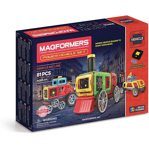 Магнитный конструктор Magformers Power Vehicle SetМагнитные конструкторы<br>Характеристики товара:<br><br>• возраст: от 3 лет;<br>• материал: пластик;<br>• в комплекте: 81 элемент, инструкция;<br>• размер упаковки: 51х36х10 см;<br>• вес упаковки: 2,825 кг;<br>• страна производитель: Корея.<br><br>Магнитный конструктор Magformers Power Vehicle set позволит детям построить из элементов разнообразные машинки. Удивительная особенность данного конструктора состоит в том, что детали конструктора надежно и крепко соединяются между собой благодаря магнитам. Магниты внутри деталей уже сделаны таким образом, что позволяют элементам присоединяться и поворачиваться друг к другу нужной стороной.<br><br>Дополнят машинки такие детали, как колеса, гусеницы. Конструктор развивает у детей пространственное и логическое мышление, мелкую моторику рук, воображение и фантазию. Помимо этого, в процессе игры ребенок знакомится с основными геометрическими фигурами. Элементы выполнены из прочного качественного пластика.<br><br>Магнитный конструктор Magformers Power Vehicle set можно приобрести в нашем интернет-магазине.<br><br>Ширина мм: 360<br>Глубина мм: 510<br>Высота мм: 100<br>Вес г: 2825<br>Возраст от месяцев: 36<br>Возраст до месяцев: 168<br>Пол: Унисекс<br>Возраст: Детский<br>SKU: 7221168