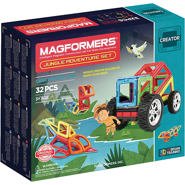 Магнитный конструктор Magformers Adventure Jungle 32 setМагнитные конструкторы<br>Характеристики товара:<br><br>• возраст: от 3 лет;<br>• материал: пластик;<br>• в комплекте: 32 элемента, инструкция;<br>• размер упаковки: 29х24,5х9,5 см;<br>• вес упаковки: 1,087 кг;<br>• страна производитель: Корея.<br><br>Магнитный конструктор Magformers Adventure Jungle set посвящен приключениям и путешествиям. Он позволит детям построить из элементов разные виды транспорта, а также фигурки животных, которых можно встретить например в джунглях. <br><br>Удивительная особенность данного конструктора состоит в том, что детали конструктора надежно и крепко соединяются между собой благодаря магнитам. Магниты внутри деталей уже сделаны таким образом, что позволяют элементам присоединяться и поворачиваться друг к другу нужной стороной.<br><br>Дополнят машинки такие детали, как колеса, гусеницы. Конструктор развивает у детей пространственное и логическое мышление, мелкую моторику рук, воображение и фантазию. Помимо этого, в процессе игры ребенок знакомится с основными геометрическими фигурами. Элементы выполнены из прочного качественного пластика.<br><br>Магнитный конструктор Magformers Adventure Jungle set можно приобрести в нашем интернет-магазине.<br><br>Ширина мм: 245<br>Глубина мм: 290<br>Высота мм: 90<br>Вес г: 1087<br>Возраст от месяцев: 36<br>Возраст до месяцев: 168<br>Пол: Унисекс<br>Возраст: Детский<br>SKU: 7221170