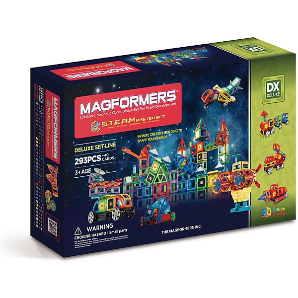 Магнитный конструктор Magformers S.T.E.A.M. MasterМагнитные конструкторы<br>Характеристики товара:<br><br>• возраст: от 3 лет;<br>• материал: пластик;<br>• в комплекте: 333 элемента, инструкция;<br>• размер упаковки: 82,5х49,5х15 см;<br>• вес упаковки: 8,85 кг;<br>• страна производитель: Корея.<br><br>Магнитный конструктор Magformers STEAM Master позволит детям построить из элементов невероятно сложные механизмы. Удивительная особенность данного конструктора состоит в том, что детали конструктора надежно и крепко соединяются между собой благодаря магнитам. Магниты внутри деталей уже сделаны таким образом, что позволяют элементам присоединяться и поворачиваться друг к другу нужной стороной.<br><br>В набор входят такие уникальные детали как вращающиеся колеса, моторчики, пропеллеры, звуковые блоки для записи сигнала, светящаяся светодиодная сфера. Конструктор развивает у детей пространственное и логическое мышление, мелкую моторику рук, воображение и фантазию. Помимо этого, в процессе игры ребенок знакомится с основными геометрическими фигурами. Элементы выполнены из прочного качественного пластика.<br><br>Магнитный конструктор Magformers STEAM Master можно приобрести в нашем интернет-магазине.<br>Ширина мм: 495; Глубина мм: 825; Высота мм: 150; Вес г: 880; Возраст от месяцев: 36; Возраст до месяцев: 168; Пол: Унисекс; Возраст: Детский; SKU: 7221172;