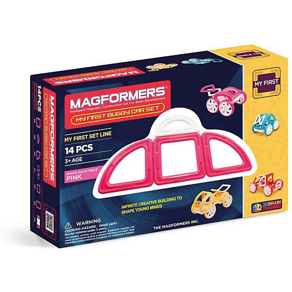 Магнитный конструктор Magformers My First Buggy, розовыйМагнитные конструкторы<br>Характеристики товара:<br><br>• возраст: от 3 лет;<br>• материал: пластик;<br>• в комплекте: 14 элементов, инструкция;<br>• размер упаковки: 27х18х8 см;<br>• вес упаковки: 650 гр.;<br>• страна производитель: Корея.<br><br>Магнитный конструктор Magformers My First Buggy розовый позволит детям построить машинки Багги. Удивительная особенность данного конструктора состоит в том, что детали конструктора надежно и крепко соединяются между собой благодаря магнитам. Магниты внутри деталей уже сделаны таким образом, что позволяют элементам присоединяться и поворачиваться друг к другу нужной стороной.<br><br>Красочные инструкции помогут юному начинающему механику. Дополнят машины колеса, благодаря которым машинка сможет ездит по поверхности. Конструктор развивает у детей пространственное и логическое мышление, мелкую моторику рук, воображение и фантазию. Помимо этого, в процессе игры ребенок знакомится с основными геометрическими фигурами. Элементы выполнены из прочного качественного пластика.<br><br>Магнитный конструктор Magformers My First Buggy розовый можно приобрести в нашем интернет-магазине.<br>Ширина мм: 180; Глубина мм: 270; Высота мм: 80; Вес г: 650; Возраст от месяцев: 36; Возраст до месяцев: 168; Пол: Унисекс; Возраст: Детский; SKU: 7221174;