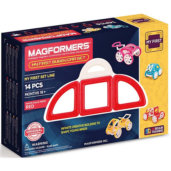 Магнитный конструктор Magformers My First Buggy, красныйМагнитные конструкторы<br>Характеристики товара:<br><br>• возраст: от 3 лет;<br>• материал: пластик;<br>• в комплекте: 14 элементов, инструкция;<br>• размер упаковки: 27х18х8 см;<br>• вес упаковки: 650 гр.;<br>• страна производитель: Корея.<br><br>Магнитный конструктор Magformers My First Buggy красный позволит детям построить машинки Багги. Удивительная особенность данного конструктора состоит в том, что детали конструктора надежно и крепко соединяются между собой благодаря магнитам. Магниты внутри деталей уже сделаны таким образом, что позволяют элементам присоединяться и поворачиваться друг к другу нужной стороной.<br><br>Красочные инструкции помогут юному начинающему механику. Дополнят машины колеса, благодаря которым машинка сможет ездит по поверхности. Конструктор развивает у детей пространственное и логическое мышление, мелкую моторику рук, воображение и фантазию. Помимо этого, в процессе игры ребенок знакомится с основными геометрическими фигурами. Элементы выполнены из прочного качественного пластика.<br><br>Магнитный конструктор Magformers My First Buggy красный можно приобрести в нашем интернет-магазине.<br><br>Ширина мм: 180<br>Глубина мм: 270<br>Высота мм: 80<br>Вес г: 650<br>Возраст от месяцев: 36<br>Возраст до месяцев: 168<br>Пол: Унисекс<br>Возраст: Детский<br>SKU: 7221175