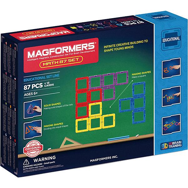 Магнитный конструктор Magformers Увлекательная МатематикаМагнитные конструкторы<br>Характеристики товара:<br><br>• возраст: от 3 лет;<br>• материал: пластик;<br>• в комплекте: 100 элементов, пособие, инструкция;<br>• размер упаковки: 46х35х7 см;<br>• вес упаковки: 2,34 кг;<br>• страна производитель: Корея.<br><br>Магнитный конструктор Magformers Увлекательная математика позволит детям построить из элементов разнообразные фигурки, дома, башни, машины, животных. Удивительная особенность данного конструктора состоит в том, что детали конструктора надежно и крепко соединяются между собой благодаря магнитам. Магниты внутри деталей уже сделаны таким образом, что позволяют элементам присоединяться и поворачиваться друг к другу нужной стороной.<br><br>Данный набор включает пособие, с помощью которого в игровой форме ребенок освоит основные элементы математики и геометрии, научится решать арифметические задачи. Конструктор развивает у детей пространственное и логическое мышление, мелкую моторику рук, воображение и фантазию. Элементы выполнены из прочного качественного пластика.<br><br>Магнитный конструктор Magformers Увлекательная математика можно приобрести в нашем интернет-магазине.<br>Ширина мм: 460; Глубина мм: 350; Высота мм: 70; Вес г: 2340; Возраст от месяцев: 36; Возраст до месяцев: 168; Пол: Унисекс; Возраст: Детский; SKU: 7221176;