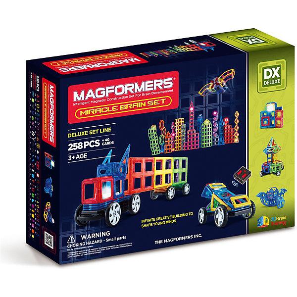 Магнитный конструктор Magformers Miracle Brain setМагнитные конструкторы<br>Характеристики товара:<br><br>• возраст: от 3 лет;<br>• материал: пластик;<br>• в комплекте: 298 элементов, инструкция;<br>• размер упаковки: 75,5х53,5х15 см;<br>• вес упаковки: 7 кг;<br>• страна производитель: Корея.<br><br>Магнитный конструктор Magformers Miracle Brain set позволит детям построить из элементов невероятно сложные механизмы. Удивительная особенность данного конструктора состоит в том, что детали конструктора надежно и крепко соединяются между собой благодаря магнитам. Магниты внутри деталей уже сделаны таким образом, что позволяют элементам присоединяться и поворачиваться друг к другу нужной стороной.<br><br>В набор входят такие уникальные детали как светодиодная подсветка, новые геометрические фигуры, а также платформа для приведения в движение машин, управляемая пультом управления. Конструктор развивает у детей пространственное и логическое мышление, мелкую моторику рук, воображение и фантазию. Помимо этого, в процессе игры ребенок знакомится с основными геометрическими фигурами. Элементы выполнены из прочного качественного пластика.<br><br>Магнитный конструктор Magformers Miracle Brain set можно приобрести в нашем интернет-магазине.<br><br>Ширина мм: 535<br>Глубина мм: 755<br>Высота мм: 150<br>Вес г: 7000<br>Возраст от месяцев: 36<br>Возраст до месяцев: 168<br>Пол: Унисекс<br>Возраст: Детский<br>SKU: 7221178