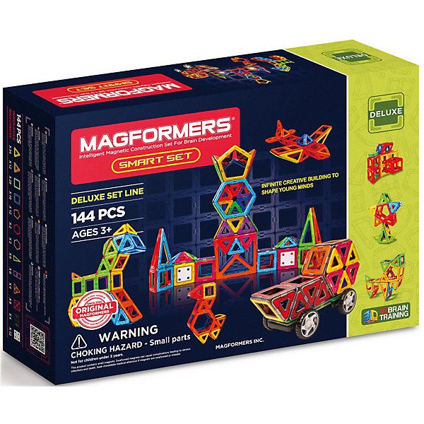 Магнитный конструктор Magformers Smart setМагнитные конструкторы<br>Характеристики товара:<br><br>• возраст: от 3 лет;<br>• материал: пластик;<br>• в комплекте: 144 элемента, инструкция;<br>• размер упаковки: 58х40,5х12,5 см;<br>• вес упаковки: 3,75 кг;<br>• страна производитель: Корея.<br><br>Магнитный конструктор Magformers Smart set позволит детям построить из элементов башни, замки, дома, животных, виды транспорта. Удивительная особенность данного конструктора состоит в том, что детали конструктора надежно и крепко соединяются между собой благодаря магнитам. Магниты внутри деталей уже сделаны таким образом, что позволяют элементам присоединяться и поворачиваться друг к другу нужной стороной.<br><br>В набор входят платформы с колесами для приведения машинок в действие. Конструктор развивает у детей пространственное и логическое мышление, мелкую моторику рук, воображение и фантазию. Помимо этого, в процессе игры ребенок знакомится с основными геометрическими фигурами. Элементы выполнены из прочного качественного пластика.<br><br>Магнитный конструктор Magformers Smart set можно приобрести в нашем интернет-магазине.<br>Ширина мм: 405; Глубина мм: 580; Высота мм: 125; Вес г: 3750; Возраст от месяцев: 36; Возраст до месяцев: 168; Пол: Унисекс; Возраст: Детский; SKU: 7221180;