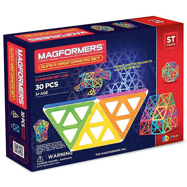 Магнитный конструктор Magformers Набор Супер - 30Магнитные конструкторы<br>Характеристики товара:<br><br>• возраст: от 3 лет;<br>• материал: пластик;<br>• в комплекте: 30 элементов (12 супертреугольников, 18 суперквадратов), инструкция;<br>• размер упаковки: 39х30х7,5 см;<br>• вес упаковки: 1,43 кг;<br>• страна производитель: Корея.<br><br>Магнитный конструктор Magformers Набор Супер 30 позволит детям построить из элементов разнообразные фигурки, дома, башни, машины, животных. Удивительная особенность данного конструктора состоит в том, что детали конструктора надежно и крепко соединяются между собой благодаря магнитам. Магниты внутри деталей уже сделаны таким образом, что позволяют элементам присоединяться и поворачиваться друг к другу нужной стороной.<br><br>В данном наборе представлены элементы, которые в несколько раз больше обычных деталей. Конструктор развивает у детей пространственное и логическое мышление, мелкую моторику рук, воображение и фантазию. Помимо этого, в процессе игры ребенок знакомится с основными геометрическими фигурами. Элементы выполнены из прочного качественного пластика.<br><br>Магнитный конструктор Magformers Набор Супер 30 можно приобрести в нашем интернет-магазине.<br>Ширина мм: 390; Глубина мм: 300; Высота мм: 75; Вес г: 1430; Возраст от месяцев: 36; Возраст до месяцев: 168; Пол: Унисекс; Возраст: Детский; SKU: 7221181;
