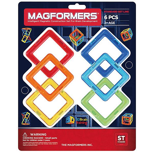 Магнитный конструктор Magformers Квадраты 6Магнитные конструкторы<br>Характеристики товара:<br><br>• возраст: от 3 лет;<br>• материал: пластик;<br>• в комплекте: 6 элементов, инструкция;<br>• размер упаковки: 25х23,5х6 см;<br>• вес упаковки: 192 гр.;<br>• страна производитель: Корея.<br><br>Магнитный конструктор Magformers Квадраты 6 подойдет для начинающих строителей. Он включает в себя квадраты, из которых можно строить простые фигурки, башенки, домики. Удивительная особенность данного конструктора состоит в том, что детали конструктора надежно и крепко соединяются между собой благодаря магнитам. Магниты внутри деталей уже сделаны таким образом, что позволяют элементам присоединяться и поворачиваться друг к другу нужной стороной.<br><br>Конструктор развивает у детей пространственное и логическое мышление, мелкую моторику рук, воображение и фантазию. Помимо этого, в процессе игры ребенок знакомится с основными геометрическими фигурами. Элементы выполнены из прочного качественного пластика.<br><br>Магнитный конструктор Magformers Квадраты 6 можно приобрести в нашем интернет-магазине.<br><br>Ширина мм: 250<br>Глубина мм: 235<br>Высота мм: 60<br>Вес г: 192<br>Возраст от месяцев: 36<br>Возраст до месяцев: 168<br>Пол: Унисекс<br>Возраст: Детский<br>SKU: 7221183