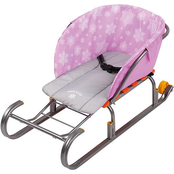 Сиденье для санок Nika-Kids (снежинки, розовый)