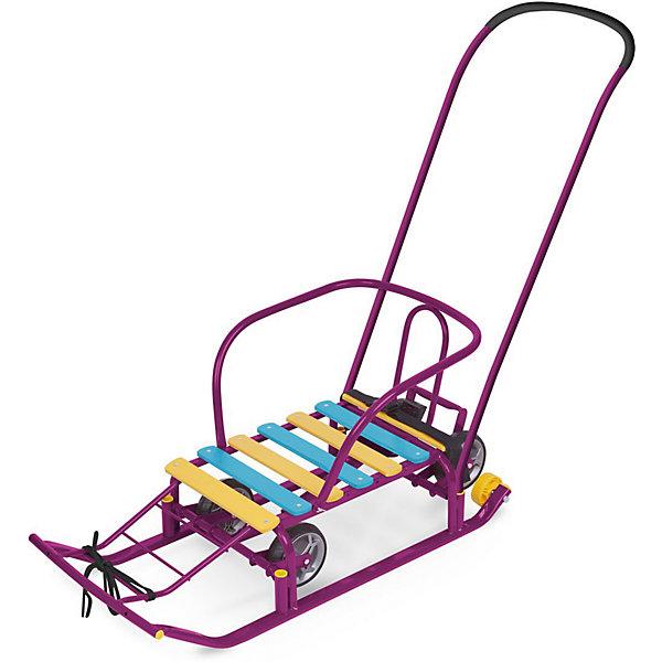 Санки с колесами и ручкой Nika-Kids Тимка 5 Универсал (сиреневые)Санки и снегокаты<br>Характеристики товара:<br><br>• возраст: от 12 месяцев;                                                                                                                                                                                                   • пол: для девочек и мальчиков;<br>• цвет: сиреневый;<br>• допустимый вес эксплуатации: 50 кг.;<br>• из чего сделана игрушка (состав): металл, дерево, текстиль, пластик;<br>• длина без ручки: 85 см.;<br>• ширина полозьев: 3 см.;<br>• длина посадочного места: 46 см.;<br>• ширина по колесам: 24 см.;<br>• ширина по полозьям: 36,5 см.;<br>• диаметр больших колес: 15 см.;<br>• высота до ручки (положение на колесах): 100 см.;<br>• высота до ручки (положение на полозьях): 94 см.;<br>• высота от земли до сиденья (положение на колесах): 24,5 см.;<br>• высота от земли до сиденья (положение на полозьях): 18,5 см.;<br>• ширина по спинке: 4 см.;<br>• количество положений ручки: 2;<br>• страна обладатель бренда: Россия.<br><br>Санки имеют прорезиненные колеса, которые позволят детям кататься на санках не только по снегу, но и по бетонным дорожкам.<br><br>Санки оборудованы съемной спинкой, ступенчатой подножкой и специальными ремнями, что иключит падение во время движения. <br><br>При желании можно положить на деревянное сиденье подушку, что обеспечить дополнительный комфорт.<br><br>Детские санки можно купить в нашем интернет-магазине.<br><br>Ширина мм: 870<br>Глубина мм: 195<br>Высота мм: 370<br>Вес г: 5740<br>Возраст от месяцев: 24<br>Возраст до месяцев: 84<br>Пол: Унисекс<br>Возраст: Детский<br>SKU: 7221235