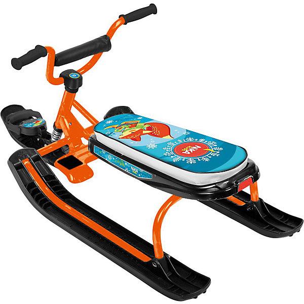 Снегокат Nika-Kids Ника-джамп, (лисенок, оранжевый)Снегокаты<br>Характеристики товара:<br><br>• возраст: от 4 лет;                                                                                                                                                                                                   • пол: для девочек и мальчиков;<br>• цвет каркаса: оранжевый;<br>• рисунок сиденья: лисенок;<br>• руль: спортивный;<br>• высота по сиденью: 27 см.;<br>• грузоподъемность не более: 100 кг.<br><br>Снегокат предназначен для перевозки детей по плотному снегу или льду, катанию с горок. <br><br>Конструкция сварная  из стальных труб, пластиковых элементов. <br><br>Буксировочный трос с автоматической намоткой. Улучшенный широкий тормоз. Удлиненное мягкое спортивное сиденье. <br><br>Снекокат для детей можно купиить в нашем интернет-магазине.<br><br>Ширина мм: 740<br>Глубина мм: 245<br>Высота мм: 460<br>Вес г: 7800<br>Возраст от месяцев: 48<br>Возраст до месяцев: 84<br>Пол: Унисекс<br>Возраст: Детский<br>SKU: 7221236