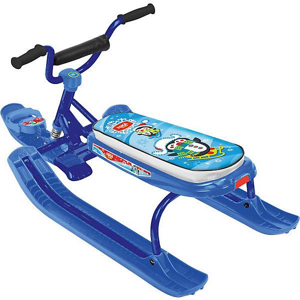 Снегокат Nika-Kids Ника-джамп, (пингвин, синий)Снегокаты<br>Характеристики товара:<br><br>• возраст: от 4 лет;                                                                                                                                                                                                   • пол: для девочек и мальчиков;<br>• цвет каркаса: синий;<br>• рисунок сиденья: пингвин;<br>• руль: спортивный;<br>• высота по сиденью: 27 см.;<br>• грузоподъемность не более: 100 кг.<br><br>Снегокат предназначен для перевозки детей по плотному снегу или льду, катанию с горок. <br><br>Конструкция сварная  из стальных труб, пластиковых элементов. <br><br>Буксировочный трос с автоматической намоткой. Улучшенный широкий тормоз. Удлиненное мягкое спортивное сиденье. <br><br>Снекокат для детей можно купиить в нашем интернет-магазине.<br><br>Ширина мм: 740<br>Глубина мм: 245<br>Высота мм: 460<br>Вес г: 7800<br>Возраст от месяцев: 48<br>Возраст до месяцев: 84<br>Пол: Унисекс<br>Возраст: Детский<br>SKU: 7221237