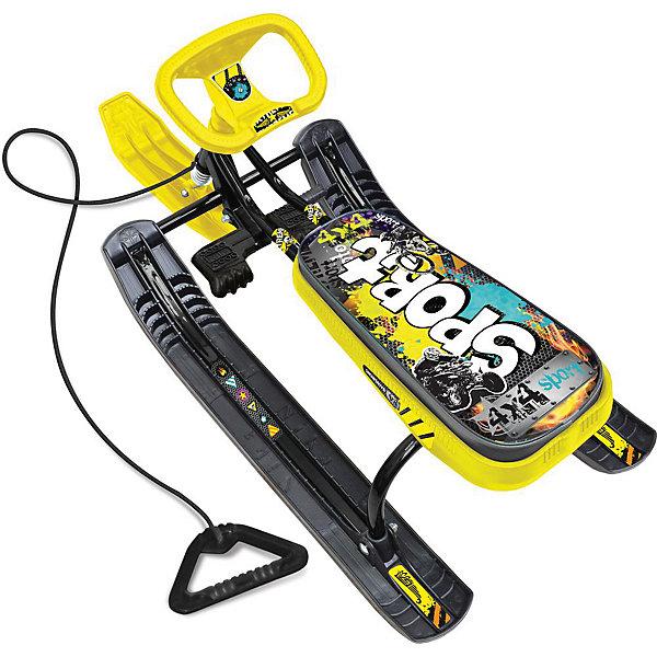 Снегокат Nika-Kids Тимка Спорт 1, (граффити, желтый)Снегокаты<br>Характеристики товара:<br><br>• цвет: черный, желтый;<br>• длина: 110 см.; <br>• ширина: 49 см.;<br>• высота: 54 см.;<br>• высота по сиденью: 38 см.;<br>• ширина колеи: 37 см.;<br>• размер сиденья: 44,5х20 см.;<br>• грузоподъемность не более: 100 кг;<br>• вес: 7,2 кг.;<br>• рисунок сиденья: граффити.<br><br>Снегокат  предназначен для перевозки детей от 7 до 12 лет по плотному снегу или льду, катанию с горок. <br><br>Имеет сварную конструкцию из стальных труб, пластмассовые лыжи и мягкое сиденье, обтянутое  искусственной кожей с рисунком.<br><br>Буксировочный трос с автоматической намоткой. Усиленный тормоз эффективен на обледенелой поверхности. Поставляется в разобранном виде.<br><br>Снегокат можно купить в нашеим интернет-магазине.<br>Ширина мм: 800; Глубина мм: 370; Высота мм: 530; Вес г: 7800; Возраст от месяцев: 84; Возраст до месяцев: 144; Пол: Унисекс; Возраст: Детский; SKU: 7221253;