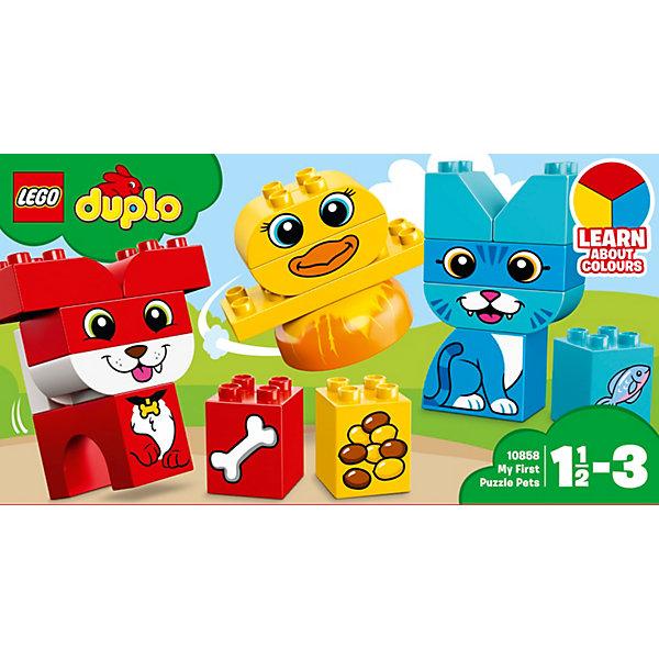 Конструктор LEGO DUPLO 10858: Мои первые домашние животныеLEGO<br>Характеристики товара:<br><br>• возраст: от 1,5 лет;<br>• серия LEGO: Duplo;<br>• материал: пластик;<br>• количество деталей: 18 шт.;<br>• в наборе: цыпленок, щенок, котенок, корм;<br>• размер животных: 8х9х6 см, 11х6х3 см, 10х9х6 см;<br>• размер упаковки: 14х26х9 см;<br>• вес упаковки: 319 гр.;<br>• страна бренда: Дания.<br><br>Конструктор LEGO Duplo: «Мои первые домашние животные» содержит крупные детали, предназначенные для самых маленьких строителей. Собирать кирпичики интуитивно понятно. Элементы конструктора выполнены в ярких цветах из безопасного и прочного пластика.<br><br>Сборка развивает мелкую моторику, цветовосприятие и внимательность.<br><br>Особенности и функционал:<br><br>• каждый питомец с кормом выполнен в своем цвете;<br>• подходит для использования с другими наборами серии LEGO Duplo.<br><br>Конструктор LEGO Duplo 10858: «Мои первые домашние животные» можно купить в нашем интернет-магазине.<br>Ширина мм: 262; Глубина мм: 144; Высота мм: 96; Вес г: 329; Возраст от месяцев: 18; Возраст до месяцев: 36; Пол: Унисекс; Возраст: Детский; SKU: 7221436;
