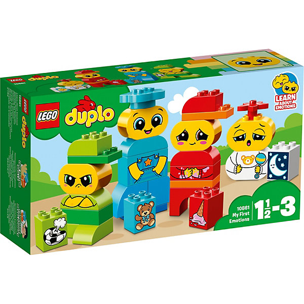 Конструктор LEGO DUPLO 10861: Мои первые эмоцииLEGO<br>Характеристики товара:<br><br>• возраст: от 1,5 лет;<br>• серия LEGO: Duplo;<br>• материал: пластик;<br>• количество деталей: 28 шт.;<br>• в наборе: 4 фигурки ребенка, 4 кирпичика с предметами;<br>• размер игрушек: 16х9х6 см, 15х8х3 см, 13х8х14 см, 10х6х4 см;<br>• размер упаковки: 19х35х9 см;<br>• вес упаковки: 520 гр.;<br>• страна бренда: Дания.<br><br>Конструктор LEGO Duplo: «Мои первые эмоции» содержит крупные детали, предназначенные для самых маленьких строителей. Собирать кирпичики по цветам интуитивно понятно. Элементы конструктора ярко оформлены, выполнены из безопасного и прочного пластика.<br><br>Сборка развивает мелкую моторику, цветовосприятие и внимательность.<br><br>Особенности и функционал:<br><br>• каждая фигурка с предметом выполнена в своем цвете;<br>• на лицах фигурок изображены разные эмоции: обида, радость, стеснение, сонливость;<br>• подходит для использования с другими наборами серии LEGO Duplo.<br><br>Конструктор LEGO Duplo 10861: «Мои первые эмоции» можно купить в нашем интернет-магазине.<br>Ширина мм: 354; Глубина мм: 195; Высота мм: 96; Вес г: 513; Возраст от месяцев: 18; Возраст до месяцев: 36; Пол: Унисекс; Возраст: Детский; SKU: 7221439;