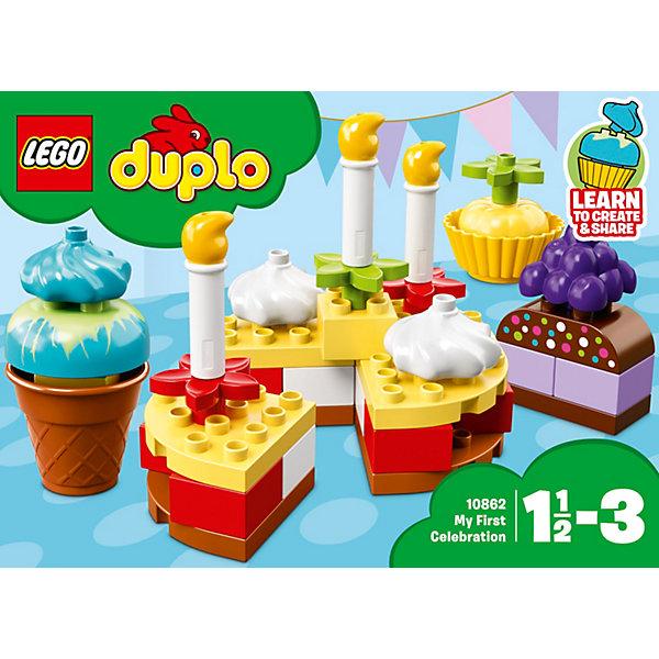 Конструктор LEGO DUPLO 10862: Мой первый праздникLEGO<br>Характеристики товара:<br><br>• возраст: от 1,5 лет;<br>• серия LEGO: Duplo;<br>• материал: пластик;<br>• количество деталей: 41 шт.;<br>• в наборе: 3 пирожных, торт, свечи, декор для торта;<br>• размер торта: 14х14х14 см;<br>• размер упаковки: 19х26х11 см;<br>• вес упаковки: 505 гр.;<br>• страна бренда: Дания.<br><br>Конструктор LEGO Duplo: «Мой первый праздник» содержит крупные детали, предназначенные для самых маленьких строителей. Собирать кирпичики по цветам интуитивно понятно. Элементы конструктора ярко оформлены в виде сладостей, выполнены из безопасного и прочного пластика.<br><br>Сборка развивает мелкую моторику, цветовосприятие и внимательность.<br><br>Особенности и функционал:<br><br>• торт можно разделить на 4 части и украсить свечами и сливками;<br>• подходит для использования с другими наборами серии LEGO Duplo.<br><br>Конструктор LEGO Duplo 10862: «Мой первый праздник» можно купить в нашем интернет-магазине.<br>Ширина мм: 264; Глубина мм: 195; Высота мм: 121; Вес г: 504; Возраст от месяцев: 18; Возраст до месяцев: 36; Пол: Унисекс; Возраст: Детский; SKU: 7221440;