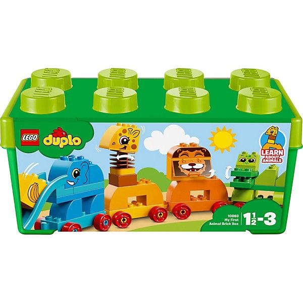 Конструктор LEGO DUPLO 10863: Мой первый парад животныхLEGO<br>Характеристики товара:<br><br>• возраст: от 1,5 лет;<br>• серия LEGO: Duplo;<br>• материал: пластик;<br>• количество деталей: 34 шт.;<br>• в наборе: слон, жираф, лев, крокодил, птица, кубик с бананом;<br>• размер животных: 12х19х6 см, 12х8х12 см, 12х19х6 см, 16х12х6 см, 11х9х11 см;<br>• размер упаковки: 17х37х18 см;<br>• вес упаковки: 990 гр.;<br>• страна бренда: Дания.<br><br>Конструктор LEGO Duplo: «Мой первый парад животных» содержит крупные детали, предназначенные для самых маленьких строителей. Собирать кирпичики по цветам интуитивно понятно. Элементы конструктора ярко оформлены в виде животных, выполнены из безопасного и прочного пластика.<br><br>Сборка развивает мелкую моторику, цветовосприятие и внимательность.<br><br>Особенности и функционал:<br><br>• коробка для хранения в виде кирпича LEGO;<br>• пасть льва и пасть крокодила открываются;<br>• шея жирафа подвижна;<br>• хобот слона работает как горка;<br>• вагоны отсоединяются друг от друга;<br>• подходит для использования набором LEGO Duplo 10859: «Моя первая божья коровка».<br><br>Конструктор LEGO Duplo 10863: «Мой первый парад животных» можно купить в нашем интернет-магазине.<br>Ширина мм: 366; Глубина мм: 183; Высота мм: 182; Вес г: 984; Возраст от месяцев: 18; Возраст до месяцев: 36; Пол: Унисекс; Возраст: Детский; SKU: 7221441;