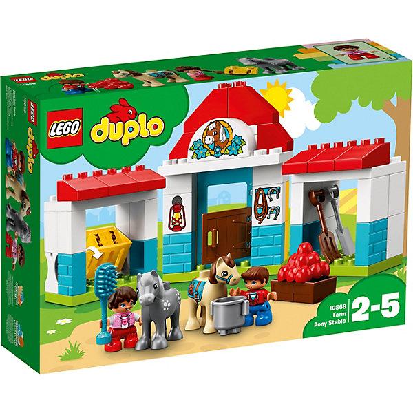 Конструктор LEGO DUPLO 10868: Конюшня на фермеLEGO<br>Характеристики товара:<br><br>• возраст: от 2 лет;<br>• серия LEGO: Duplo;<br>• материал: пластик;<br>• количество деталей: 59 шт.;<br>• количество минифигурок: 4;<br>• в наборе: конюшня, щетка, лопата, котел, кормушка, яблоки;<br>• размер упаковки: 26х38х9 см;<br>• вес упаковки: 822 гр.;<br>• страна изготовитель: Дания.<br><br>Конструктор LEGO Duplo: «Конюшня на ферме» содержит крупные детали, предназначенные для самых юных строителей. Детали просто собираются в сцену на конюшне, где мальчик и девочка ухаживают за своими лошадками, кормят их, вычесывают гриву и играют с питомцами.<br><br>Набор развивает мелкую моторику, воображение и усидчивость ребенка. Элементы конструктора выполнены в ярких цветах из безопасного и прочного пластика.<br><br>Особенности и функционал:<br><br>• ворота в постройке открываются;<br>• корыто для корма подвижно;<br>• подходит для использования с наборами LEGO Duplo 10869: «День на ферме» и 10870: «Ферма: домашние животные».<br><br>Конструктор LEGO Duplo 10868: «Конюшня на ферме» можно купить в нашем интернет-магазине.<br>Ширина мм: 384; Глубина мм: 264; Высота мм: 99; Вес г: 824; Возраст от месяцев: 24; Возраст до месяцев: 60; Пол: Женский; Возраст: Детский; SKU: 7221443;