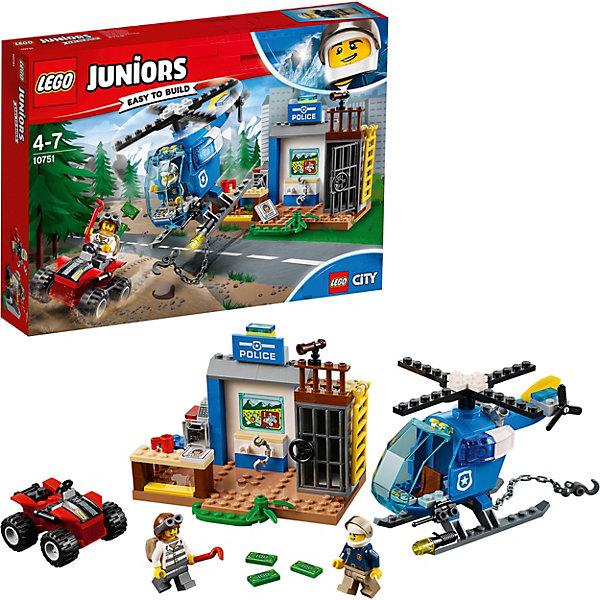 Конструктор LEGO Juniors 10751: Погоня горной полицииLEGO Juniors<br>Характеристики товара:<br><br>• возраст: от 4 лет;<br>• серия LEGO: Juniors;<br>• материал: пластик;<br>• количество деталей: 115 шт.;<br>• количество минифигурок: 2;<br>• в наборе: полицейский участок, квадроцикл, вертолет, шлем, купюры, портрет, камера, наручники, лом, стол, кассовый аппарат, рация, чашка;<br>• размер участка: 10х12х6 см;<br>• размер упаковки: 19х26х4 см;<br>• вес упаковки: 310 гр.;<br>• страна бренда: Дания.<br><br>Конструктор LEGO Juniors: «Погоня горной полиции» содержит все необходимые элементы для создания сцены грабежа. Преступник украл из сейфа полиции банкноты и теперь скрывается в горной местности. Отважный полицейский садится в вертолет и начинается погоня. <br><br>Элементы конструктора выполнены в ярких цветах из безопасного и прочного пластика.<br><br>Особенности и функционал:<br><br>• дверь камеры открывается;<br>• лопасти вертолета крутятся, кабина открывается;<br>• дверцу сейфа можно взломать ломом;<br>• подходит для использования с другими наборами серии LEGO Juniors.<br><br>Конструктор LEGO Juniors 10751: «Погоня горной полиции» можно купить в нашем интернет-магазине.<br>Ширина мм: 263; Глубина мм: 192; Высота мм: 50; Вес г: 311; Возраст от месяцев: 48; Возраст до месяцев: 84; Пол: Мужской; Возраст: Детский; SKU: 7221450;