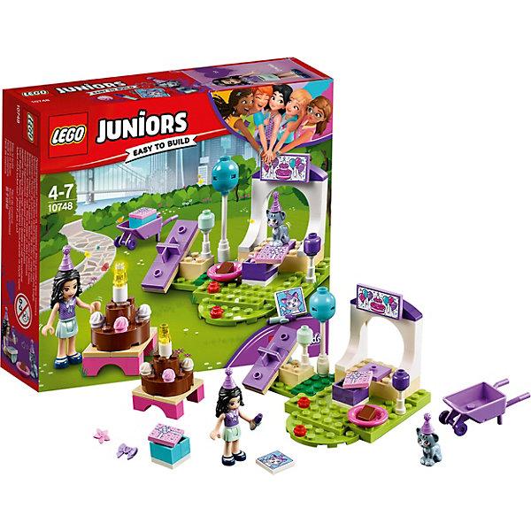 Конструктор LEGO Juniors 10748: Вечеринка Эммы для питомцевLEGO Juniors<br>Характеристики товара:<br><br>• возраст: от 4 лет;<br>• серия LEGO: Juniors;<br>• материал: пластик;<br>• количество минифигурок: 2;<br>• аксессуары в наборе: шарики, колпачки, коробки с подарками, качели, миска, торт, украшения, цветок, бантик, кексы, вывеска, картина, карандаш, тележка;<br>• количество деталей: 67 шт.;<br>• размер парка: 7х10х8 см;<br>• размер упаковки: 14х15х4 см;<br>• вес упаковки: 120 гр.;<br>• страна бренда: Дания.<br><br>Конструктор LEGO Juniors: «Вечеринка Эммы для питомцев» содержит все необходимые элементы настоящего праздника в парке: качели, большой торт, подарки. Эмма устроила сюрприз для котенка Чико, осталось только наслаждаться днем рождения. <br><br>Элементы конструктора выполнены в ярких цветах из безопасного и прочного пластика.<br><br>Особенности и функционал:<br><br>• рабочие качели;<br>• торт можно дополнительно украсить;<br>• подходит для использования с другими наборами серии LEGO Juniors.<br><br>Конструктор LEGO Juniors 10748: «Вечеринка Эммы для питомцев» можно купить в нашем интернет-магазине.<br>Ширина мм: 157; Глубина мм: 141; Высота мм: 48; Вес г: 119; Возраст от месяцев: 48; Возраст до месяцев: 84; Пол: Женский; Возраст: Детский; SKU: 7221451;