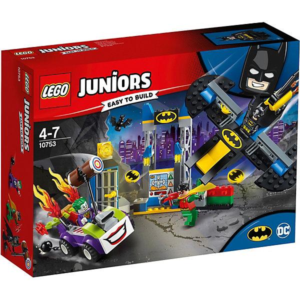 Конструктор LEGO Juniors 10753: Нападение Джокера на БэтпещеруLEGO Juniors<br>Характеристики товара:<br><br>• возраст: от 4 лет;<br>• серия LEGO: Juniors;<br>• материал: пластик;<br>• количество деталей: 151 шт.;<br>• количество минифигурок: 3;<br>• в наборе: бэтпещера, бэтмолет, авто Джокера , бэтдиск, динамит, молот;<br>• размер пещеры: 14х17х8 см;<br>• размер упаковки: 19х26х7 см;<br>• вес упаковки: 390 гр.;<br>• страна бренда: Дания.<br><br>Конструктор LEGO Juniors: «Нападение Джокера на Бэтпещеру» содержит все необходимые элементы для создания сцены борьбы Джокера с Бэтменом и Робином. Преступник ворвался в пещеру героя на своей машине с молотом, но его уже ждет атака с воздуха и холодная тюремная камера.<br><br>Элементы конструктора выполнены в ярких цветах из безопасного и прочного пластика.<br><br>Особенности и функционал:<br><br>• дверь камеры открывается;<br>• самолет Бэтмена стреляет дисками;<br>• бэтмолет может стыковаться с башней;<br>• персонажи набора относятся к вселенной супергероев DC;<br>• подходит для использования с другими наборами серии LEGO Juniors.<br><br>Конструктор LEGO Juniors 10753: «Нападение Джокера на Бэтпещеру» можно купить в нашем интернет-магазине.<br>Ширина мм: 262; Глубина мм: 192; Высота мм: 78; Вес г: 385; Возраст от месяцев: 48; Возраст до месяцев: 84; Пол: Мужской; Возраст: Детский; SKU: 7221454;