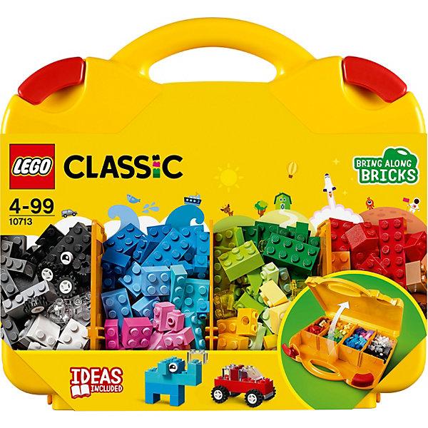 Конструктор LEGO Classic 10713: Чемоданчик для творчества и конструированияLEGO<br>Характеристики товара:<br><br>• возраст: от 4 лет;<br>• серия LEGO: Classic;<br>• материал: пластик;<br>• количество деталей: 213 шт.;<br>• размер упаковки: 26х28х6 см;<br>• вес упаковки: 853 гр.;<br>• страна бренда: Дания.<br><br>Конструктор LEGO Classic: «Чемоданчик для творчества и конструирования» предназначен для сборки разнообразных фигур, сооружений и предметов. Сборка осуществляется как по инструкции, так и не ограничена фантазией ребенка. Кирпичи, колеса, глаза и формы позволят создать уникальную игрушку.<br><br>Набор развивает мелкую моторику, воображение и усидчивость ребенка. Элементы конструктора выполнены в ярких цветах из безопасного и прочного пластика.<br><br>Особенности и функционал:<br><br>• в чемоданчике есть отсеки для удобного хранения деталей;<br>• в наборе понятные инструкции по строительству;<br>• подходит для использования с другими наборами серии LEGO Classic.<br><br>Конструктор LEGO Classic 10713: «Чемоданчик для творчества и конструирования» можно купить в нашем интернет-магазине.<br>Ширина мм: 283; Глубина мм: 266; Высота мм: 68; Вес г: 822; Возраст от месяцев: 48; Возраст до месяцев: 144; Пол: Унисекс; Возраст: Детский; SKU: 7221458;