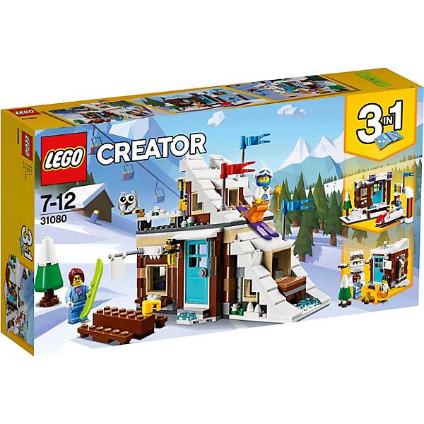 Конструктор LEGO Creator 31080: Зимние каникулыLEGO<br>Характеристики товара:<br><br>• возраст: от 7 лет;<br>• серия LEGO: Creator;<br>• материал: пластик;<br>• количество деталей: 374 шт.;<br>• в наборе: хижина, снегоход, лыжи, сноуборд, чашка, шлем, елка, флажки;<br>• количество минифигурок: 2;<br>• размер лыжной будки: 15х21х18 см;<br>• размер упаковки: 19х36х7 см;<br>• вес упаковки: 616 гр.;<br>• страна бренда: Дания.<br><br>Из деталей конструктора LEGO Creator: «Зимние каникулы» можно собрать три варианта сооружений: комплекс для лыжного спорта или для бобслея, а также лесной домик и снежного человека. <br><br>В распоряжении ребенка окажутся фигурки парня и девушки, которые могут кататься по склонам, согреваться горячими напитками или отдыхать в лесу. <br><br>Элементы конструктора детализированы, выполнены в ярких цветах из безопасного и прочного пластика.<br><br>Особенности и функционал:<br><br>• конструктор 3 в 1: лыжная будка со склоном/кабина бобслей/фигура йети;<br>• дверь сооружений открывается;<br>• у йети подвижные ноги и руки;<br>• подходит для использования с другими наборами серии LEGO Creator.<br><br>Конструктор LEGO Creator 31080: «Зимние каникулы» модульная сборка можно купить в нашем интернет-магазине.<br>Ширина мм: 354; Глубина мм: 195; Высота мм: 73; Вес г: 616; Возраст от месяцев: 84; Возраст до месяцев: 144; Пол: Унисекс; Возраст: Детский; SKU: 7221459;