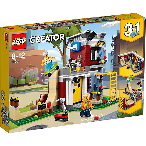 Конструктор LEGO Creator 31081: Скейт-площадкаLEGO<br>Характеристики товара:<br><br>• возраст: от 8 лет;<br>• серия LEGO: Creator;<br>• материал: пластик;<br>• количество деталей: 422 шт.;<br>• игровые аксессуары;<br>• количество минифигурок: 2;<br>• размер упаковки: 26х39х6 см;<br>• вес упаковки: 787 гр.;<br>• страна бренда: Дания.<br><br>Из деталей конструктора LEGO Creator: «Скейт-площадка» можно собрать три варианта площадки для игры: угловое кафе с дорожкой для скейта, зал аттракционов и установку для катания в парке.<br><br>В набор входят дополнительные аксессуары, включая стену для скалолазания, баскетбольное кольцо, приемник, телевизор и множество других. В распоряжении ребенка окажутся 2 фигурки – парня и девушки, которым предстоит научиться невообразимым трюкам на скутере и скейтборде.<br><br>Элементы конструктора детализированы, выполнены из безопасного и прочного пластика.<br><br>Особенности и функционал:<br><br>• вращающиеся колеса;<br>• модульный конструктор 3 в 1;<br>• подходит для использования с другими наборами серии LEGO Creator.<br><br>Конструктор LEGO Creator 31081: «Скейт-площадка» (модульная сборка) можно купить в нашем интернет-магазине.<br>Ширина мм: 382; Глубина мм: 266; Высота мм: 63; Вес г: 785; Возраст от месяцев: 96; Возраст до месяцев: 144; Пол: Унисекс; Возраст: Детский; SKU: 7221460;