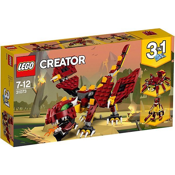 Конструктор LEGO Creator 31073: Мифические существаLEGO<br>Характеристики товара:<br><br>• возраст: от 7 лет;<br>• серия LEGO: Creator;<br>• материал: пластик;<br>• количество деталей: 223 шт.;<br>• размер дракона: 8х27х17 см;<br>• размер упаковки: 14х26х4 см;<br>• вес упаковки: 286 гр.;<br>• страна изготовитель: Дания.<br><br>Из деталей конструктора LEGO Creator: «Мифические существа» можно собрать три варианта фигур: дракона, паука и тролля. Каждое из существ имеет грозный вид, детализированный образ и подвижные части тела. Набор отлично подходит для сюжетных игр. Элементы конструктора выполнены в ярких цветах из безопасного и прочного пластика.<br><br>Особенности и функционал:<br><br>• конструктор 3 в 1: дракон/паук/тролль;;<br>• пасть дракона открывается, лапы, хвост и крылья двигаются;<br>• лапки паука двигаются;<br>• ноги и руки тролля подвижны.<br><br>Конструктор LEGO Creator 31073: «Мифические существа» можно купить в нашем интернет-магазине.<br>Ширина мм: 262; Глубина мм: 142; Высота мм: 52; Вес г: 290; Возраст от месяцев: 84; Возраст до месяцев: 144; Пол: Унисекс; Возраст: Детский; SKU: 7221461;