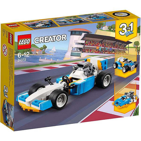 Конструктор LEGO Creator 31072: Экстремальные гонкиLEGO<br>Характеристики товара:<br><br>• возраст: от 6 лет;<br>• серия LEGO: Creator;<br>• материал: пластик;<br>• количество деталей: 109 шт.;<br>• размер машинок: 4х15х16 см, 4х9х6 см;<br>• размер катера: 6х9х6 см;<br>• размер упаковки: 14х19х4 см;<br>• вес упаковки: 183 гр.;<br>• страна бренда: Дания.<br><br>Из деталей конструктора LEGO Creator: «Экстремальные гонки» можно собрать три варианта транспорта: два гоночных автомобиля и катер. Элементы конструктора детализированы, выполнены в ярких цветах из безопасного и прочного пластика.<br><br>Особенности и функционал:<br><br>• конструктор 3 в 1: гоночный автомобиль/спортивный багги/катер;<br>• в кабине водителя есть руль;<br>• подходит для использования с другими наборами серии LEGO Creator.<br><br>Конструктор LEGO Creator 31072: «Экстремальные гонки» можно купить в нашем интернет-магазине.<br>Ширина мм: 194; Глубина мм: 140; Высота мм: 50; Вес г: 184; Возраст от месяцев: 72; Возраст до месяцев: 144; Пол: Мужской; Возраст: Детский; SKU: 7221463;