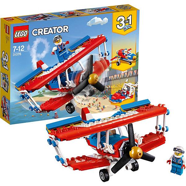 Конструктор LEGO Creator 31076: Самолёт для крутых трюковLEGO<br>Характеристики товара:<br><br>• возраст: от 7 лет;<br>• серия LEGO: Creator;<br>• материал: пластик;<br>• количество деталей: 200 шт.;<br>• аксессуары в наборе: шлем;<br>• количество минифигурок: 1;<br>• размер биплана: 9х15х17 см;<br>• размер самолета: 6х15х11 см;<br>• размер лодки: 5х12х5 см;<br>• размер упаковки: 19х27х5 см;<br>• вес упаковки: 313 гр.;<br>• страна бренда: Дания.<br><br>Из деталей конструктора LEGO Creator: «Самолет для крутых трюков» можно собрать три варианта транспорта: два вида самолетов и скоростной катер.<br><br>Биплан представляет собой самолет с двумя ярусами крыльев, в нем предусмотрена кабина пилота, в которую можно спуститься с крыла. Специально для трюков на крыле есть место для фигурки каскадера.<br><br>Элементы конструктора детализированы, выполнены в ярких цветах из безопасного и прочного пластика.<br><br>Особенности и функционал:<br><br>• конструктор 3 в 1: биплан/самолет/лодка;<br>• пропеллер биплана крутится;<br>• подходит для использования с другими наборами серии LEGO Creator.<br><br>Конструктор LEGO Creator 31076: «Самолет для крутых трюков» можно купить в нашем интернет-магазине.<br>Ширина мм: 264; Глубина мм: 190; Высота мм: 50; Вес г: 313; Возраст от месяцев: 84; Возраст до месяцев: 144; Пол: Мужской; Возраст: Детский; SKU: 7221466;