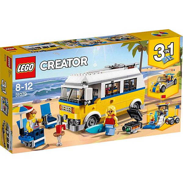 Конструктор LEGO Creator 31079: Фургон сёрферовLEGO<br>Характеристики товара:<br><br>• возраст: от 8 лет;<br>• серия LEGO: Creator;<br>• материал: пластик;<br>• количество деталей: 379 шт.;<br>• аксессуары в наборе: доска, шезлонг, зонт, стол, бинокль, гриль;<br>• количество минифигурок: 2;<br>• размер фургона: 10х24х8 см;<br>• размер упаковки: 19х36х6 см;<br>• вес упаковки: 568 гр.;<br>• страна бренда: Дания.<br><br>Из деталей конструктора LEGO Creator: «Фургон серферов» можно собрать три варианта транспорта для отдыха на пляже: фургон, квадроцикл и легковой автомобиль без крыши.<br><br>В распоряжении ребенка окажутся фигурки парня и девушки, которые могут кататься по волнам на серфе, делать барбекю, отдыхать в салоне трейлера или загорать на шезлонгах. <br><br>Элементы конструктора детализированы, выполнены в ярких цветах из безопасного и прочного пластика.<br><br>Особенности и функционал:<br><br>• конструктор 3 в 1: фургон/кабриолет/багги;<br>• складные шезлонг и мангал;<br>• кузов фургона открывается;<br>• подходит для использования с другими наборами серии LEGO Creator.<br><br>Конструктор LEGO Creator 31079: «Фургон серферов» можно купить в нашем интернет-магазине.<br>Ширина мм: 356; Глубина мм: 192; Высота мм: 63; Вес г: 569; Возраст от месяцев: 96; Возраст до месяцев: 144; Пол: Мужской; Возраст: Детский; SKU: 7221467;