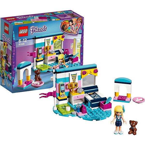 Конструктор LEGO Friends 41328: Комната СтефаниLEGO<br>Характеристики товара:<br><br>• возраст: от 6 лет;<br>• серия LEGO: Friends;<br>• материал: пластик;<br>• количество деталей: 95 шт.;<br>• в наборе: шайба, клюшка для гольфа, мяч, бутылка для воды, миска, косточка, сумка, расческа, тетрадь, мобильный, кубок, будильник, флажок, стол, кровать;<br>• количество минифигурок: 2;<br>• размер собранной комнаты: 7х9х9 см;<br>• размер упаковки: 14х15х6 см;<br>• вес упаковки: 140 гр.;<br>• страна бренда: Дания.<br><br>Конструктор LEGO Friends: «Комната Стефани» представляет собой комнату чемпионки по гольфу и отлично отражает спортивный дух Стефани.<br><br>У Стефани есть все, чтобы стать победительницей: кровать для крепкого сна, будильник, спортивное снаряжение и телефон, чтобы оставаться на связи. Главное не забывать заботиться о питомце – любимом щенке Стефани по кличке Дэша.<br><br>Особенности и функционал:<br><br>• подвижное крепление для сотового телефона;<br>• выдвижной ящик в тумбе;<br>• подходит для использования с другими наборами серии LEGO Friends.<br><br>Конструктор LEGO Friends 41328: «Комната Стефани» можно купить в нашем интернет-магазине.<br>Ширина мм: 160; Глубина мм: 142; Высота мм: 63; Вес г: 158; Возраст от месяцев: 72; Возраст до месяцев: 144; Пол: Женский; Возраст: Детский; SKU: 7221469;