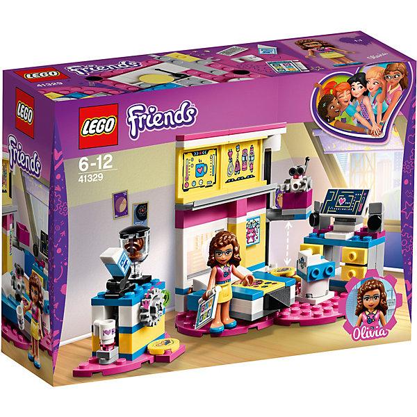 Конструктор LEGO Friends 41329: Комната ОливииLEGO Friends<br>Характеристики товара:<br><br>• возраст: от 6 лет;<br>• серия LEGO: Friends;<br>• материал: пластик;<br>• количество деталей: 163 шт.;<br>• в наборе: кровать, компьютер, планшет, кофейный аппарат, чашка, кресло;<br>• количество минифигурок: 2;<br>• размер собранной комнаты: 9х9х9 см;<br>• размер упаковки: 14х19х6 см;<br>• вес упаковки: 218 гр.;<br>• страна бренда: Дания.<br><br>Конструктор LEGO Friends: «Комната Оливии» представляет собой комнату девочки, увлеченной миром высоких технологий и науки.<br><br>У Оливии есть все, чтобы создавать новые изобретения: кровать для крепкого сна, компьютер, удобное кресло и кофеварка. Оливия запрограммировала своего робота Зобито, чтобы он варил кофе каждое утро.<br><br>Особенности и функционал:<br><br>• вращающееся компьютерное кресло;<br>• крышка кофеварки открывается;<br>• подходит для использования с другими наборами серии LEGO Friends.<br><br>Конструктор LEGO Friends 41329: «Комната Оливии» можно купить в нашем интернет-магазине.<br>Ширина мм: 193; Глубина мм: 144; Высота мм: 66; Вес г: 216; Возраст от месяцев: 72; Возраст до месяцев: 144; Пол: Женский; Возраст: Детский; SKU: 7221470;