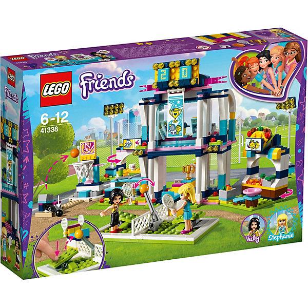 Конструткор LEGO Friends 41338: Спортивная арена для СтефаниLEGO Friends<br>Характеристики товара:<br><br>• возраст: от 6 лет;<br>• серия LEGO: Friends;<br>• материал: пластик;<br>• количество деталей: 378 шт.;<br>• в наборе: арена, кубок, ракетка, мяч, баскетбольная сетка, прожекторы, тарелка, чашка, мороженое, тако, лимонад, поднос, денежная купюра, мониторы;<br>• количество минифигурок: 2;<br>• размер упаковки: 26х38х7 см;<br>• вес упаковки: 460 гр.;<br>• страна бренда: Дания.<br><br>Из деталей конструктора LEGO Friends: «Спортивная арена для Стефани» можно собрать красочный комплекс для соревнований по теннису и баскетболу на специальном оборудовании.<br><br>Конструктор содержит яркие детализированные элементы и аксессуары, которые оживляют игровой процесс. Здание арены включает будку для комментатора, табло для счета и прожекторы. После игры Стефани и Викки могут подкрепиться у прилавков с едой.<br><br>Конструктор выполнен из качественного безопасного пластика.<br><br>Особенности и функционал:<br><br>• платформа с мячом имеет рычаг для выбрасывания мяча в сетку;<br>• на установке для тенниса имеется рычаг, который запускает мяч в воздух;<br>• подходит для использования с другими наборами серии LEGO Friends.<br><br>Конструктор LEGO Friends 41338: «Спортивная арена для Стефани» можно купить в нашем интернет-магазине.<br>Ширина мм: 379; Глубина мм: 263; Высота мм: 76; Вес г: 802; Возраст от месяцев: 72; Возраст до месяцев: 144; Пол: Женский; Возраст: Детский; SKU: 7221477;
