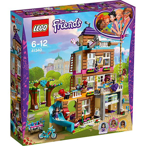 Конструтор LEGO Friends 41340: Дом дружбыLEGO Friends<br>Характеристики товара:<br><br>• возраст: от 6 лет;<br>• серия LEGO: Friends;<br>• материал: пластик;<br>• количество деталей: 722 шт.;<br>• в наборе: дом дружбы, качели, велосипед, прицеп, телевизор, рация, наушники, телефон, колонки, гитара, попкорн, пицца, коктейли, чашка, лимонад, ведерко, микроволновка;<br>• количество минифигурок: 5;<br>• размер дома: 30х24х12 см;<br>• размер упаковки: 37х35х9 см;<br>• вес упаковки: 1,3 кг.;<br>• страна бренда: Дания.<br><br>Конструктор LEGO Friends: «Дом дружбы» представляет большой дом Эммы, Оливии, Андреа и их питомцев. В нем есть кухня, гостиная с журнальным столиком, спальня с двухсторонним телевизором. Кроме того, имеется терраса с динамиками, барбекю, гидромассажная ванна, горка для быстрого спуска и смотровая башня на крыше.<br><br>В доме найдется и много других интересных мест, ведь он был переоборудован из пожарной станции.<br> <br>Набор выполнен из качественного безопасного пластика.<br><br>Особенности и функционал:<br><br>• рабочая лебедка с рычагом для перемещения ведерка;<br>• дверь гаража поднимается;<br>• крутящийся столб для быстрого спуска;<br>• подходит для использования с другими наборами серии LEGO Friends.<br><br>Конструктор LEGO Friends 41340: «Дом дружбы» можно купить в нашем интернет-магазине.<br>Ширина мм: 354; Глубина мм: 94; Высота мм: 378; Вес г: 1300; Возраст от месяцев: 72; Возраст до месяцев: 144; Пол: Женский; Возраст: Детский; SKU: 7221479;