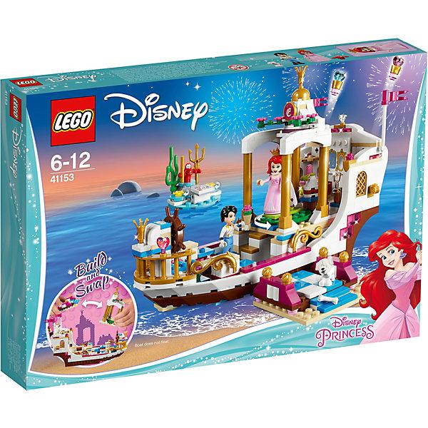 Конструктор LEGO Disney Princess 41153: Королевский Корабль АриэльLEGO Disney Princesses<br>Характеристики товара:<br><br>• возраст: от 6 лет;<br>• серия LEGO: Disney Princess;<br>• материал: пластик;<br>• количество деталей: 380 шт.;<br>• в наборе: корабль, остров Себастьяна, плот Макса, платье, плащ Ариэль, корона, очки, торт, сундук, жемчужина, телескоп, трезубец, бант, флакон духов, элементы фейерверка;<br>• количество минифигурок: 4;<br>• размер корабля: 16х23х11 см;<br>• размер упаковки: 26х38х5 см;<br>• вес упаковки: 654 гр.;<br>• страна бренда: Дания.<br><br>С конструктором LEGO Disney Princess: «Королевский корабль Ариэль» легко воссоздать моменты из любимого мультфильма про русалочку.<br><br>В распоряжении ребенка окажутся 4 фигурки – Ариэль, принц Эрик, пес Макс и краб Себастьян. Роскошный свадебный корабль принцессы и разнообразные аксессуары помогут создать множество игровых сюжетов.<br><br>Элементы конструктора высоко детализированы, выполнены из безопасного прочного пластика.<br><br>Особенности и функционал:<br><br>• вращающиеся танцпол и штурвал;<br>• катапульты на корабле пускают фейерверк из сердечек;<br>• несколько вариантов сборки корабля;<br>• подходит для использования с другими наборами серии LEGO Disney Princess.<br><br>Конструктор LEGO Disney Princess 41153: «Королевский корабль Ариэль» можно купить в нашем интернет-магазине.<br>Ширина мм: 380; Глубина мм: 261; Высота мм: 60; Вес г: 674; Возраст от месяцев: 72; Возраст до месяцев: 144; Пол: Женский; Возраст: Детский; SKU: 7221487;