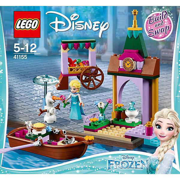 Конструктор LEGO Disney Princess 41155: Приключения Эльзы на рынкеLEGO Disney Princesses<br>Характеристики товара:<br><br>• возраст: от 5 лет;<br>• серия LEGO: Disney Princess;<br>• материал: пластик;<br>• количество деталей: 125 шт.;<br>• в наборе: лодка, повозка, зонтик-циферблат, 2 весла, коньки, яблоко, морковь, вишня, цветы, торт, бокал;<br>• количество минифигурок: 2;<br>• размер башни: 14х9х6 см;<br>• размер лодки: 11х4х2 см;<br>• размер упаковки: 19х20х4 см;<br>• вес упаковки: 222 гр.;<br>• страна бренда: Дания.<br><br>С конструктором LEGO Disney Princess: «Приключения Эльзы на рынке» легко создавать сюжеты по мотивам любимого мультфильма.<br><br>В распоряжении ребенка окажется 2 фигурки – принцесса Эльза и ее верный друг снеговик Олаф. Друзья отправились на рынок за свежими овощами и фруктами из повозки. Чтобы Олаф не растаял, его защитит специальный зонтик. В наборе также есть башня с часами и причалом и лодка для прогулок.<br><br>Элементы конструктора высоко детализированы, выполнены из безопасного прочного пластика.<br><br>Особенности и функционал:<br><br>• весла лодки, колеса повозки и купол зонтика вращаются;<br>• башня имеет две стороны: зима\лето;<br>• подходит для использования с другими наборами серии LEGO Disney Princess.<br><br>Конструктор LEGO Disney Princess 41155: «Приключения Эльзы на рынке» можно купить в нашем интернет-магазине.<br>Ширина мм: 205; Глубина мм: 192; Высота мм: 50; Вес г: 208; Возраст от месяцев: 60; Возраст до месяцев: 144; Пол: Женский; Возраст: Детский; SKU: 7221489;