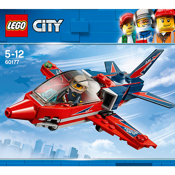 LEGO City Great Vehicles 60177: Реактивный самолётLEGO<br>Характеристики товара:<br><br>• возраст: от 5 лет;<br>• серия LEGO: City;<br>• материал: пластик;<br>• в комплекте: 87 деталь, 1 минифигурки;<br>• размер упаковки: 16х14х6,1 см;<br>• вес упаковки: 200 гр.;<br>• страна производитель: Чехия.<br><br>Из деталей набора вы можете собрать удивительный реактивный самолет с красными широкими крыльями, на которых написано «Air Show». На его предкрылках есть фирменные штыречки LEGO, поэтому пилот может смело встать на них и махать зрителям после успешно выполненной программы. <br><br>Отправляйся в небо на удивительном реактивном самолёте, чтобы устроить для посетителей авиашоу настоящее представление. Надевай шлем пилота, садись за штурвал, закрывай кабину и взлетай. Пришло время для крутых воздушных трюков!<br><br>LEGO City Great Vehicles 60177: Реактивный самолёт можно купить в нашем интернет-магазине.<br>Ширина мм: 160; Глубина мм: 147; Высота мм: 63; Вес г: 166; Возраст от месяцев: 60; Возраст до месяцев: 144; Пол: Мужской; Возраст: Детский; SKU: 7221494;