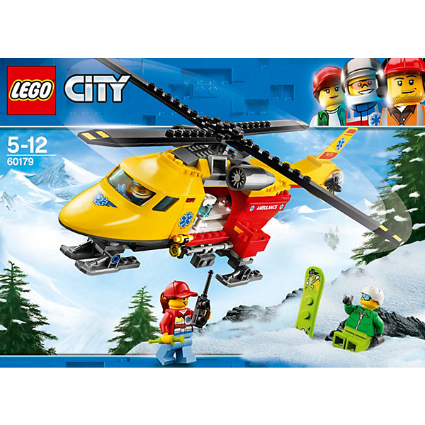 LEGO City Great Vehicles 60179: Вертолёт скорой помощиLEGO<br>Характеристики товара:<br><br>• возраст: от 5 лет;<br>• серия LEGO: City;<br>• материал: пластик;<br>• количество деталей: 190 шт.;<br>•  количество минифигурок: 3;<br>множество дополнительных игровых аксессуаров;<br>• размер собранного вертолета: 10 х 29 х 9 см;<br>• размер упаковки: 7 х 19 х 26 см;<br>• страна производитель: Чехия, Дания.<br><br>Набор состоит из 190 деталей и включает 3 минифигурки – пилот, доктор и сноубордист.<br><br>Из деталей конструктора вы сможете собрать легкий вертолет скорой помощи. У него аккуратный нос, две турбины под лопастями и еще одна расположена в хвосте вертолета. Задняя дверь открывается вниз для того, чтобы удобно было заносить пострадавших. <br><br>Особенности и функционал:<br><br>• вращающиеся лопасти;<br>• открывающаяся дверь в хвосте вертолета;<br>• подходит для использования с другими наборами серии LEGO City.<br><br>LEGO City Great Vehicles 60179: Вертолёт скорой помощи можно купить в нашем интернет-магазине.<br>Ширина мм: 262; Глубина мм: 72; Высота мм: 191; Вес г: 366; Возраст от месяцев: 60; Возраст до месяцев: 144; Пол: Мужской; Возраст: Детский; SKU: 7221496;