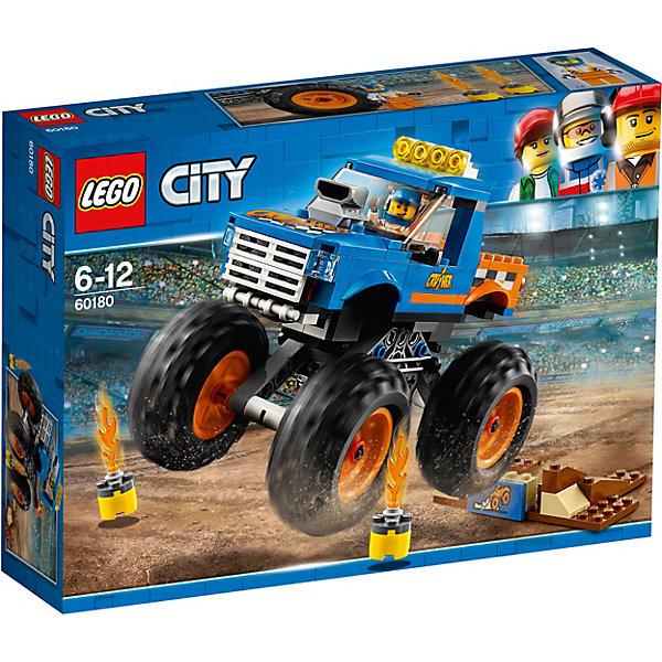LEGO City Great Vehicles 60180: Монстр-тракLEGO<br>Характеристики товара:<br><br>• возраст: от 6 лет;<br>• серия LEGO: City;<br>• материал: пластик;<br>• количество деталей: 192 шт.;<br>•  количество минифигурок: 1;<br>• размер упаковки: 7 х 19 х 26 см;<br>• вес: 374 гр.;<br>• страна производитель: Чехия, Дания.<br><br>Из деталей конструктора вы сможете собрать мощный монстр-трак с черными огромными колесами, трамплин, украшенный табличкой с изображением этого транспортного средства, и бочки с огнем. У машины высокая подвеска, четыре ярких фонаря на крыше, большой мотор, белый радиатор. Багажник по бокам украшенный разноцветными кубиками «в шашечку».<br><br>Особенности и функционал:<br><br>• вращающиеся колёса;<br>• поднимающееся стекло шлема;<br>• открывающаяся кабина;<br>• подходит для использования с другими наборами серии LEGO City.<br><br>LEGO City Great Vehicles 60180: Монстр-трак можно купить в нашем интернет-магазине.<br>Ширина мм: 264; Глубина мм: 192; Высота мм: 66; Вес г: 378; Возраст от месяцев: 72; Возраст до месяцев: 144; Пол: Мужской; Возраст: Детский; SKU: 7221497;
